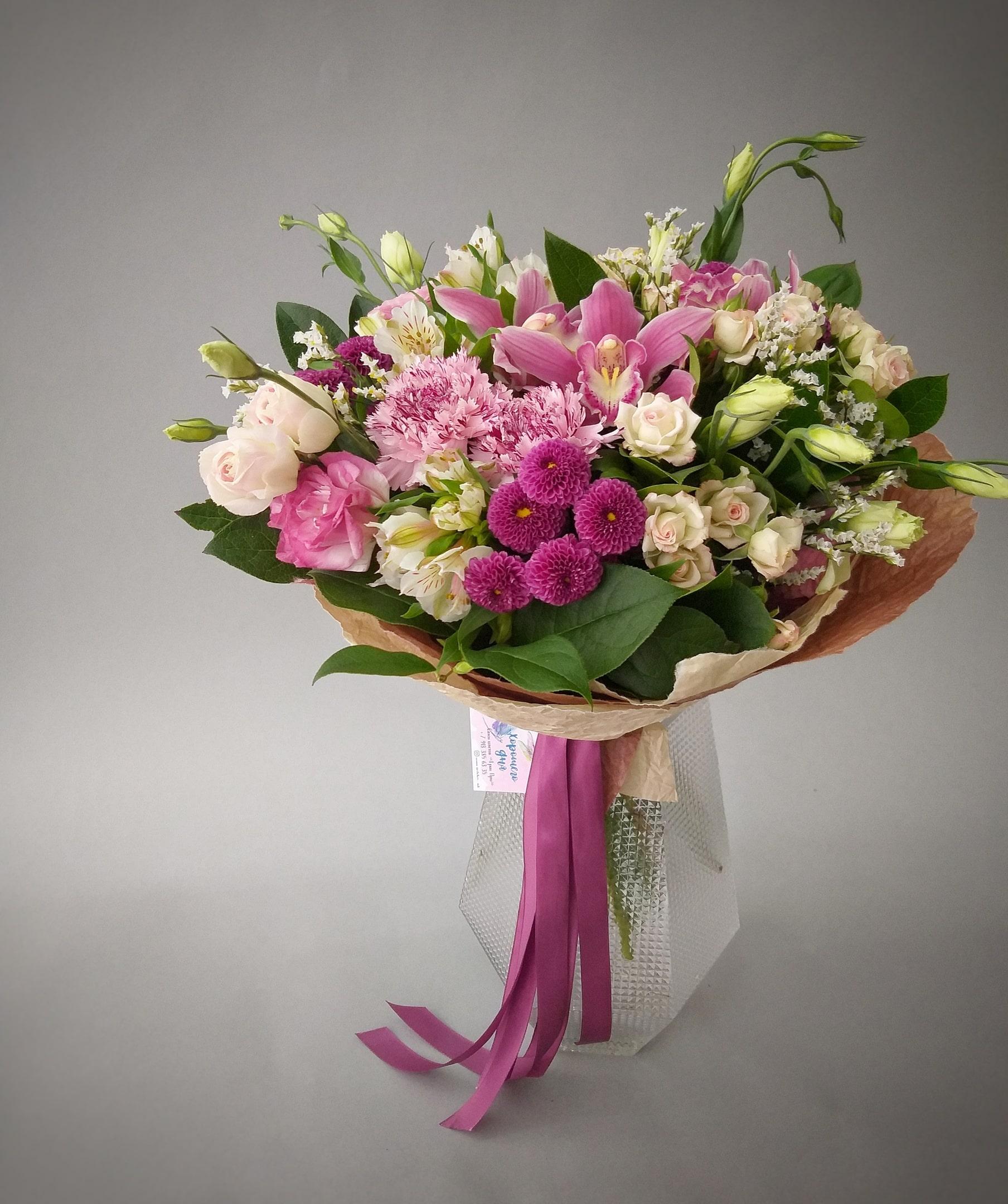 Букет гвоздики орхидеей фото, букеты